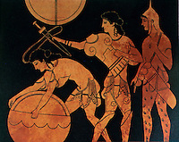 Greek Art:  Two Hoplites and Archer, 5th C. vase.  Paestum Museum.