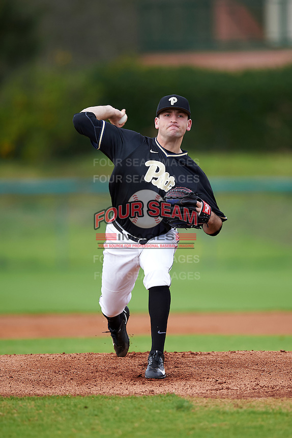 Pittsburgh Panthers pitcher Matt Pidich (41) delivers a pitch during a game against the Siena Saints on February 24, 2017 at Historic Dodgertown in Vero Beach, Florida.  Pittsburgh defeated Siena 8-2.  (Mike Janes/Four Seam Images)