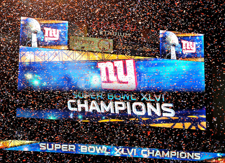 Feb 5, 2012; Indianapolis, IN, USA; General view of the scoreboard after the New York Giants defeated the New England Patriots 21-17 in Super Bowl XLVI at Lucas Oil Stadium.  Mandatory Credit: Mark J. Rebilas-