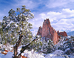 Snow covered Cathedral Rock sandstone formation in Garden of the Gods, Colorado Springs, CO