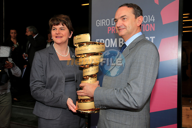 Arlene Foster, Minister for Trade &amp; Enterprise Northern Ireland, with the Giro Trophy at the 2014 Giro d'Italia Presentation held in the Palazzo del Ghiaccio in Milan, Italy. 7th October 2013.<br />