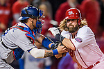 13 October 2016: Washington Nationals outfielder Jayson Werth is out at the plate to end the 6th inning of the NLDS Game 5 against the Los Angeles Dodgers at Nationals Park in Washington, DC. The Dodgers edged out the Nationals 4-3, to take Game 5 of the Series, 3 games to 2, and move on to the National League Championship Series against the Chicago Cubs. Mandatory Credit: Ed Wolfstein Photo *** RAW (NEF) Image File Available ***