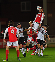 Fleetwood Town's Cian Bolger jumps highest<br /> <br /> Photographer Dave Howarth/CameraSport<br /> <br /> EFL Checkatrade Trophy - Northern Section Group A - Fleetwood Town v Morecambe - Tuesday 3rd October 2017 - Highbury Stadium - Fleetwood<br />  <br /> World Copyright &copy; 2018 CameraSport. All rights reserved. 43 Linden Ave. Countesthorpe. Leicester. England. LE8 5PG - Tel: +44 (0) 116 277 4147 - admin@camerasport.com - www.camerasport.com