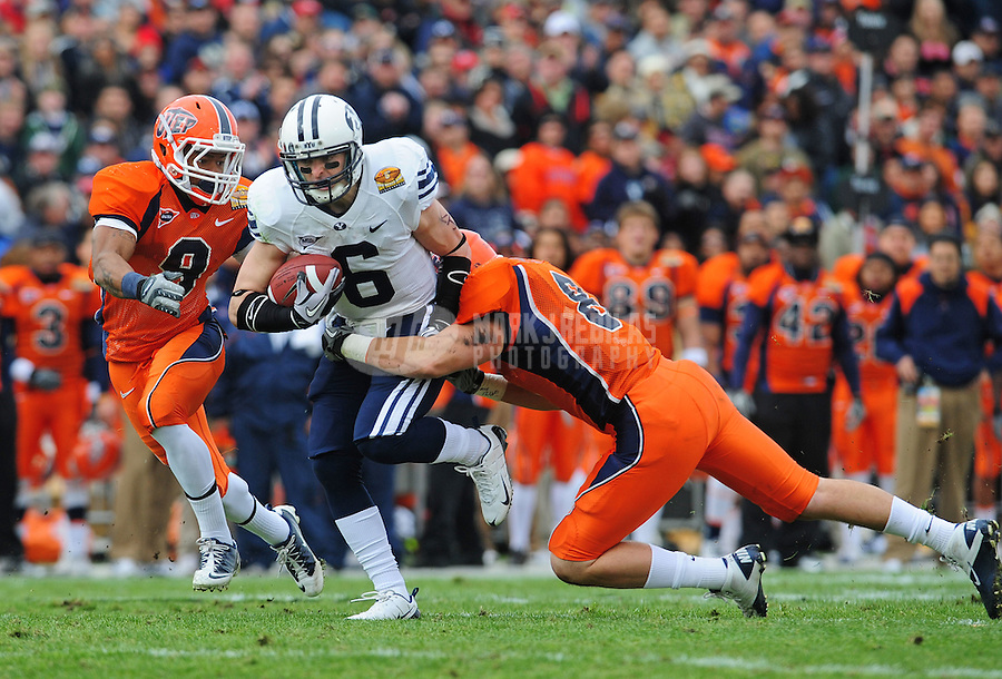 Dec. 18, 2010; Albuquerque, NM, USA; BYU Cougars wide receiver (6) McKay Jacobson runs the ball in the first quarter against the UTEP Miners in the 2010 New Mexico Bowl at University Stadium. Mandatory Credit: Mark J. Rebilas-