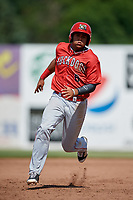Batavia Muckdogs shortstop Christopher Torres (6) runs the bases during a game against the Auburn Doubledays on June 17, 2018 at Falcon Park in Auburn, New York.  Auburn defeated Batavia 10-6.  (Mike Janes/Four Seam Images)