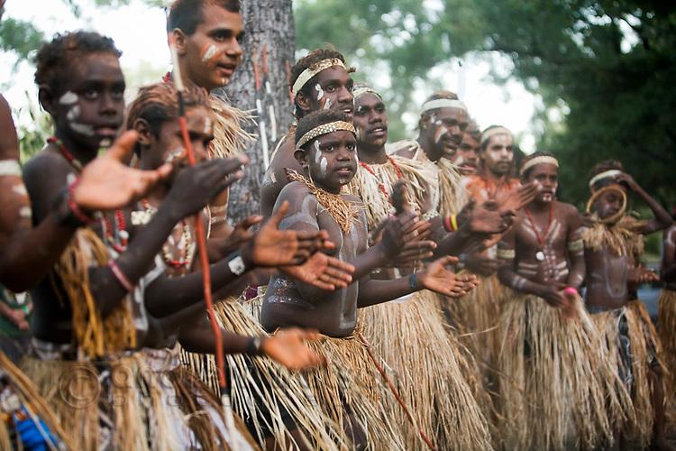 Lockhart River dance troupe at the Laura Aboriginal Dance Festival.  Laura, Queensland, Australia