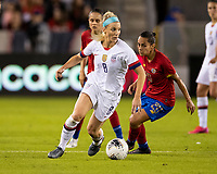HOUSTON, TX - FEBRUARY 03: Julie Ertz #8 of the USA moves with the ball in front of Raquel Chacon #20 of Costa Rica during a game between Costa Rica and USWNT at BBVA Stadium on February 03, 2020 in Houston, Texas.
