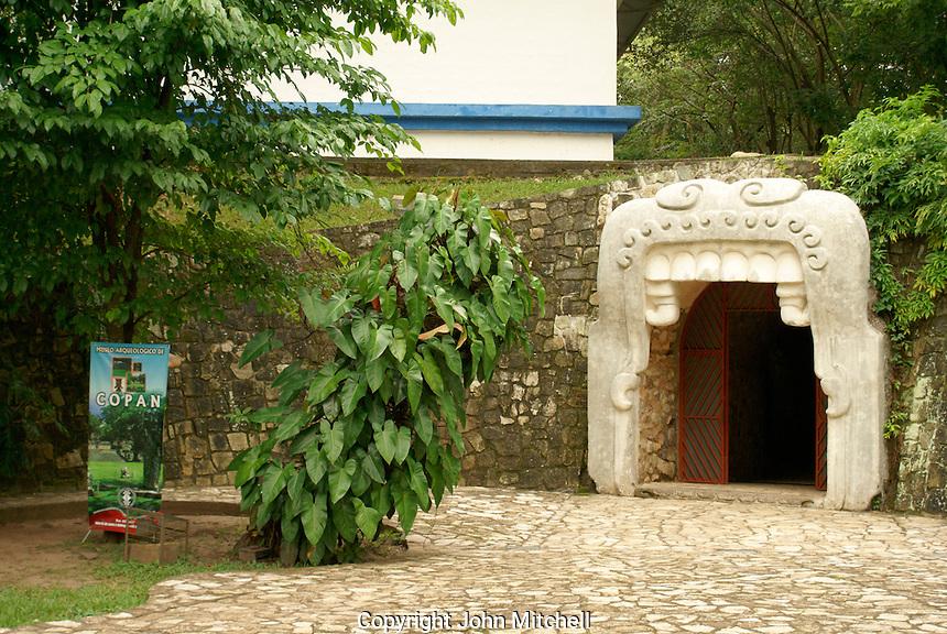 Maya earth monster entrance to the Copan Sculpture Museum at the Mayan ruins of Copan, Honduras.