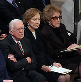 Former United States President Jimmy Carter, former first lady Roslyn Carter and former first lady Nancy Reagan follow the proceedings of the State Funeral for former United States President Gerald R. Ford at the Washington National Cathedral, in Washington, D.C. on Tuesday, January 2, 2007.<br /> Credit: Ron Sachs / CNP<br /> [NOTE: No New York Metro or other Newspapers within a 75 mile radius of New York City]