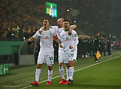 February 5th 2019, Dortmund, Germany, German DFB Cup round of 16, Borussia Dortmund versus SV Werder Bremen; Celebration for the goal from Bremen for 0-1 with KRUSE, RASHICA