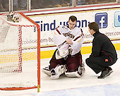 Parker Milner (BC - 35), Bert Lenz (BC - Trainer) - The Boston College Eagles defeated the Merrimack College Warriors 4-2 to give Head Coach Jerry York his 900th collegiate win on Friday, February 17, 2012, at Kelley Rink at Conte Forum in Chestnut Hill, Massachusetts.