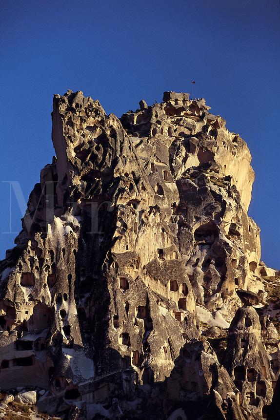 Troglodyte rock carved cave houses Cappadocia Turkey.