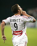 1 November 2007: Chicago's Chad Barrett quiets the DC crowd following his first half goal. The Chicago Fire tied DC United 2-2 at RFK Stadium in Washington, DC in the second leg of a first round Major League Soccer playoff match. Chicago advanced on aggregate goals, 3-2.
