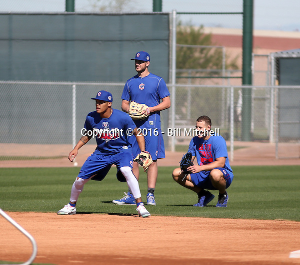 Addison Russell (left), Kris Bryant (middle), Anthony Rizzo (right) - Chicago Cubs 2016 spring training (Bill Mitchell)