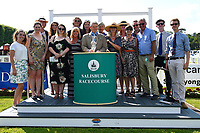 Andrew Balding and family with connections of Nyaleti after winning The Toby Balding Memorial Novice Stakes (Plus 10), during Father's Day Racing at Salisbury Racecourse on 18th June 2017