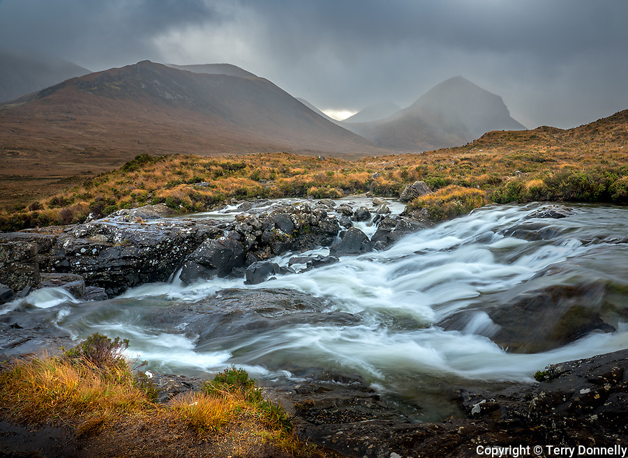 Isle of Skye, Scotland:<br /> Rushing waters of the River Sligachan, Black Cuillin Mountains in the background