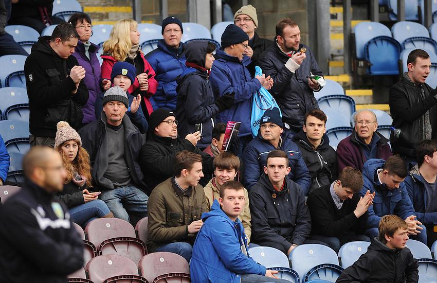 Burnley fans during the pre-match warm-up <br /> <br /> Photographer Kevin Barnes/CameraSport<br /> <br /> Football - Barclays Premiership - Burnley v Liverpool - Friday 26th December 2014 - Turf Moor - Burnley<br /> <br /> &copy; CameraSport - 43 Linden Ave. Countesthorpe. Leicester. England. LE8 5PG - Tel: +44 (0) 116 277 4147 - admin@camerasport.com - www.camerasport.com