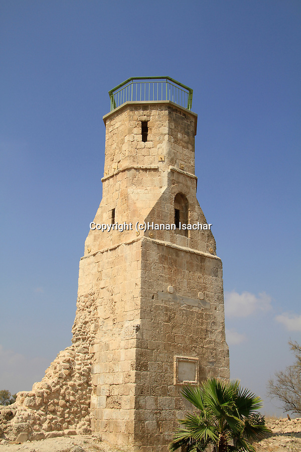 Israel, Southern Coastal Plain, the minaret of the Mamluk Mosque at Tel Yavne