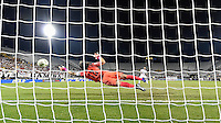 Orlando, FL - Saturday Jan. 21, 2017: Corinthians goalkeeper Cassio Ramos (12) can't quite reach the penalty shot at full extension during the penalty kick shootout of the Florida Cup Championship match between São Paulo and Corinthians at Bright House Networks Stadium. The game ended 0-0 in regulation with São Paulo defeating Corinthians 4-3 on penalty kicks.