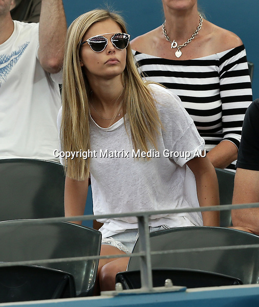 9 JANUARY 2016 BRISBANE AUSTRALIA<br /> <br /> NON EXCLUSIVE <br /> <br /> Danielle Knudson was seen at the Brisbane International tennis tournament to support her partner, Canadian Milos Raonic who was playing Bernard Tomic in the men's semifinal.