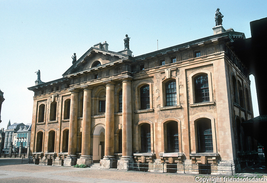 Nicholas Hawksmoor: Clarendon Building, Oxford 1713. Home of Oxford U. Press, 1713-1829. The figures on top are the nine Muses (1717).