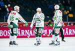Solna 2014-03-16 Bandy SM-final herrar Sandvikens AIK - V&auml;ster&aring;s SK :  <br /> V&auml;ster&aring;s Johan Esplund deppar tillsammans med V&auml;ster&aring;s Oscar Gr&ouml;hn och V&auml;ster&aring;s Aksel Ekblom <br /> (Foto: Kenta J&ouml;nsson) Nyckelord:  SM SM-final final herr herrar VSK V&auml;ster&aring;s SAIK Sandviken  depp besviken besvikelse sorg ledsen deppig nedst&auml;md uppgiven sad disappointment disappointed dejected