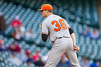 Sam Houston State Bearkats starting pitcher Tyler Eppler #36 looks to his catcher for the sign against the Texas Christian Horned Frogs at Minute Maid Park on February 28, 2014 in Houston, Texas.  The Bearkats defeated the Horned Frogs 9-4.  (Brian Westerholt/Four Seam Images)