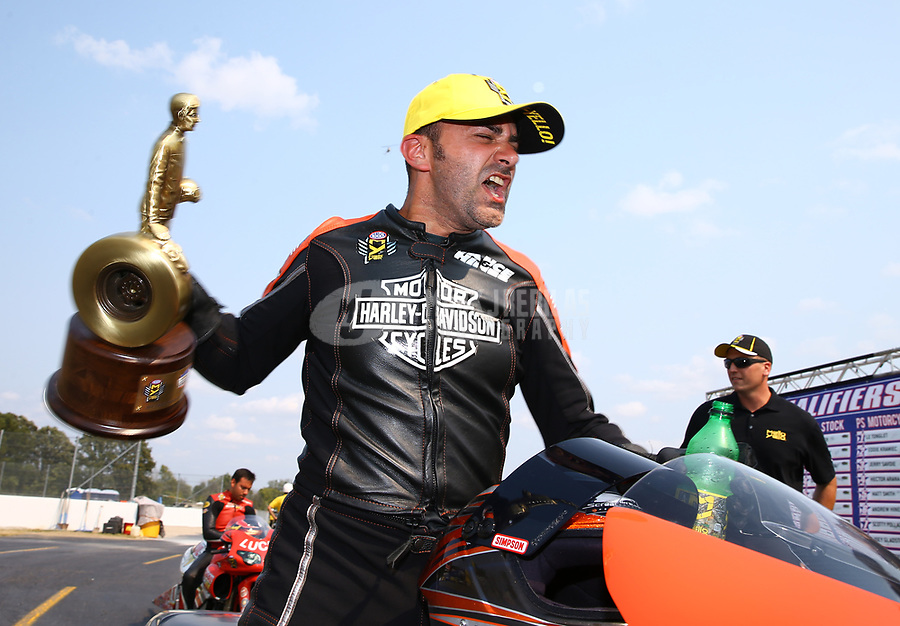 Sep 4, 2017; Clermont, IN, USA; NHRA pro stock motorcycle rider Eddie Krawiec celebrates after winning the US Nationals at Lucas Oil Raceway. Mandatory Credit: Mark J. Rebilas-USA TODAY Sports