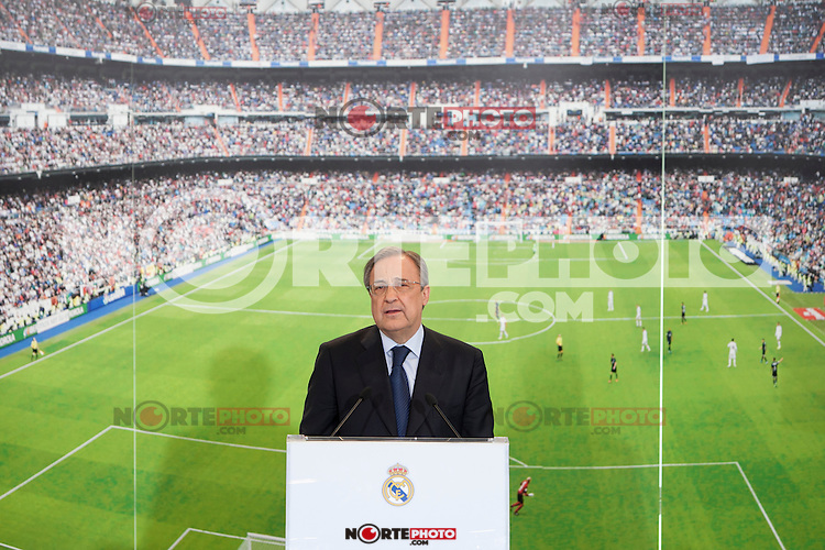 Real Madrid's President Florentino Perez during the official presentation of Toni Kroos as new player of Real Madrid football club in Santiago Bernabeu stadium in Madrid, Spain. July 17, 2014. (ALTERPHOTOS/Caro Marin)