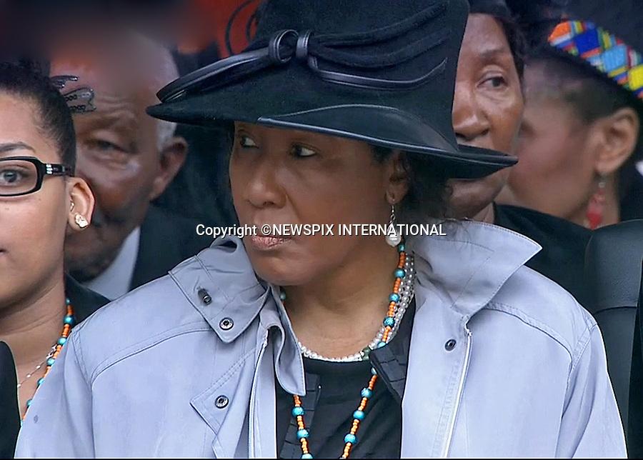MAKAZIWE MANDELA (Mandela's eldest daughter)<br /> NELSON MANDELA MEMORIAL<br /> The nation mourns Nelson Rolihlahla Mandela Memorial Service, FNB Stadium, Johannesburg, South Africa<br /> Mandatory Credit Photo: &copy;NEWSPIX INTERNATIONAL<br /> <br /> **ALL FEES PAYABLE TO: &quot;NEWSPIX INTERNATIONAL&quot;**<br /> <br /> IMMEDIATE CONFIRMATION OF USAGE REQUIRED:<br /> Newspix International, 31 Chinnery Hill, Bishop's Stortford, ENGLAND CM23 3PS<br /> Tel:+441279 324672  ; Fax: +441279656877<br /> Mobile:  07775681153<br /> e-mail: info@newspixinternational.co.uk
