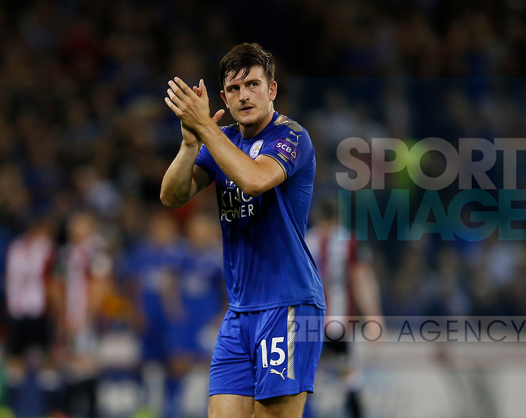 Harry Maguire of Leicester City applauds the kop as he is brought off during the Carabao Cup, second round match at Bramall Lane, Sheffield. Picture date 22nd August 2017. Picture credit should read: Simon Bellis/Sportimage