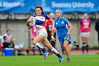 Kelly Smith of Great Britain runs in a try in the second half. FISU World University Championship Rugby Sevens Women's 5th/6th place match between Great Britain and Italy on July 9, 2016 at the Swansea University International Sports Village in Swansea, Wales. Photo by: Patrick Khachfe / Onside Images