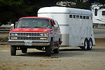 Suburban and horse trailer in Crescent City California