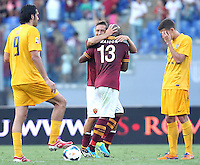 ROME, Italy - September 1, 2013: Roma beats Verona 3-0 during the Serie A match in Olimpico Stadium. In the photo the celebration for the the goal of 1-0 scored by Maicon Douglas