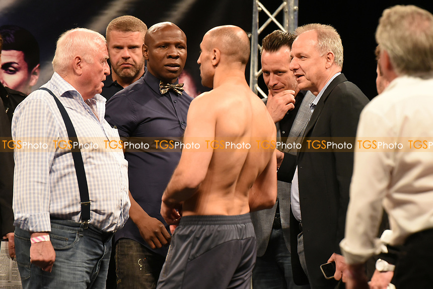 Chris Eubank argues with Arthur Abraham during a Weigh-In at the SSE Arena on 14th July 2017