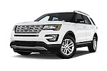Stock pictures of low aggressive front three quarter view of a 2017 Ford Explorer XLT 4 Door SUV Low Aggressive