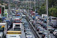 Pictured: A traffic jam caused by flooded roads on the Athens to Corinth motorway in the outskirts of Athens, Greece. Wednesday 27 June 2018<br /> Re: Flashflooding has been caused by storm Nefeli in parts of Greece.