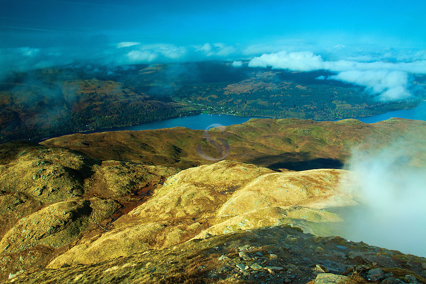 Loch Lomond from the Munro of Ben Lomond, Loch Lomond and the Trossachs National Park, Stirlingshire