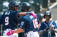 NWA Democrat-Gazette/CHARLIE KAIJO Northwest Arkansas Naturals second baseman Erick Mejia (9) greets center fielder Donnie Dewees (16) after scoring a home run during a baseball game, Sunday, May 13, 2018 at Arvest Ballpark in Springdale.