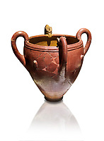 Bronze Age Anatolian four handled terra cotta vase with reliefs - 19th - 17th century BC - Kültepe Kanesh - Museum of Anatolian Civilisations, Ankara, Turkey. Against a white background.