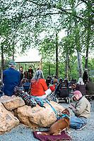 Outdoor concert and dinner in Merritt's new backyard courtyard.