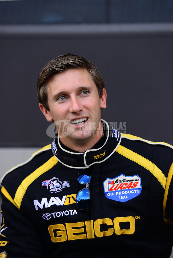 Sept. 14, 2012; Concord, NC, USA: NHRA top fuel dragster driver Morgan Lucas during qualifying for the O'Reilly Auto Parts Nationals at zMax Dragway. Mandatory Credit: Mark J. Rebilas-