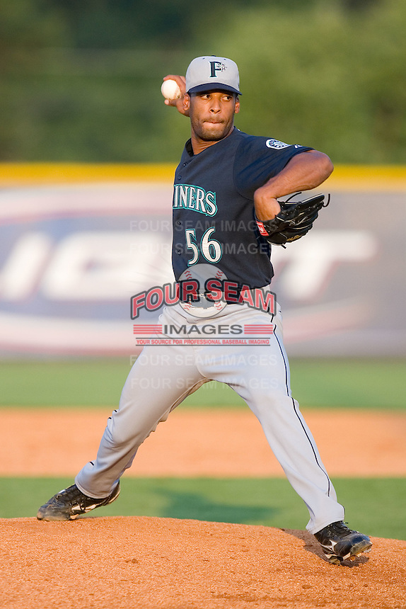Eric Valdez #56 of the Pulaski Mariners in action versus the Burlington Royals at Burlington Athletic Park August 4, 2009 in Burlington, North Carolina. (Photo by Brian Westerholt / Four Seam Images)
