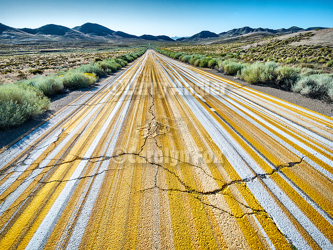 Multiple striping on the pavement, Tonopah., Nev.<br /> <br /> (&quot;Yellow brick road&quot;)