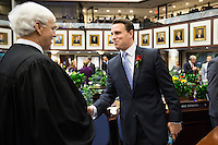 TALLAHASSEE, FLA. 3/4/14-House Speaker Will Weatherford, R-Wesley Chapel, right, greets Florida Supreme Court Chief Justice Ricky Polston, left, during the opening day of the legislative session, March 4, 2014 at the Capitol in Tallahassee.<br /> <br /> COLIN HACKLEY PHOTO