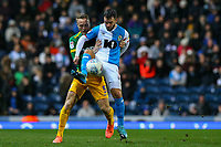 Blackburn Rovers' Adam Armstrong shields the ball from Preston North End's Tom Clarke<br /> <br /> Photographer Alex Dodd/CameraSport<br /> <br /> The EFL Sky Bet Championship - Blackburn Rovers v Preston North End - Saturday 11th January 2020 - Ewood Park - Blackburn<br /> <br /> World Copyright © 2020 CameraSport. All rights reserved. 43 Linden Ave. Countesthorpe. Leicester. England. LE8 5PG - Tel: +44 (0) 116 277 4147 - admin@camerasport.com - www.camerasport.com