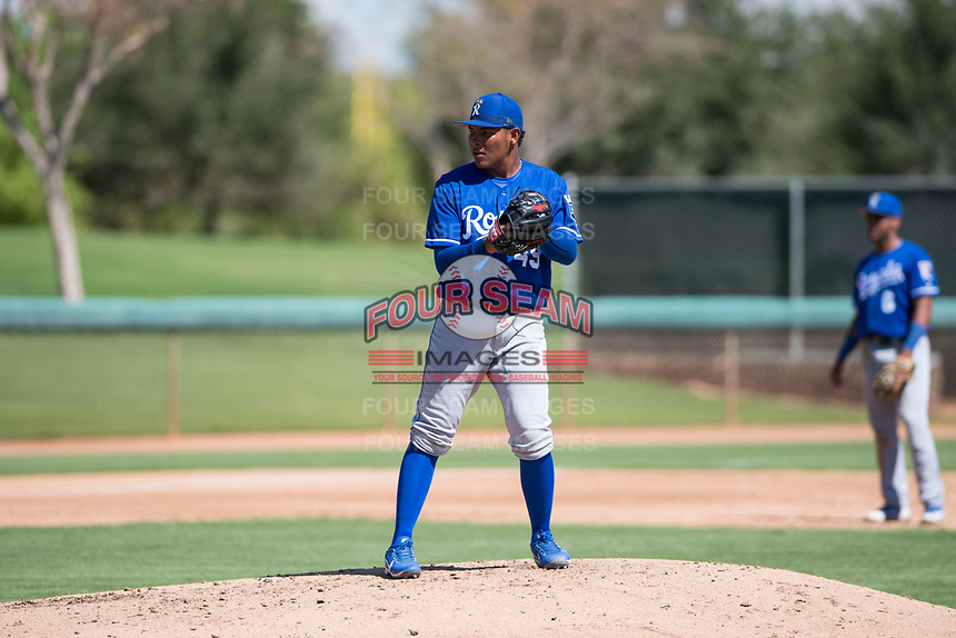 Kansas City Royals relief pitcher Angel Zerpa (49) gets ready to deliver a pitch during an Instructional League game against the Chicago White Sox at Camelback Ranch on September 25, 2018 in Glendale, Arizona. (Zachary Lucy/Four Seam Images)