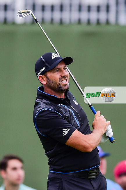 Sergio Garcia (ESP) watches his tee shot on 17 during the round 1 of  the AT&amp;T Byron Nelson, TPC Four Seasons, Irving, Texas, USA. 5/19/2016.<br /> Picture: Golffile | Ken Murray<br /> <br /> <br /> All photo usage must carry mandatory copyright credit (&copy; Golffile | Ken Murray)