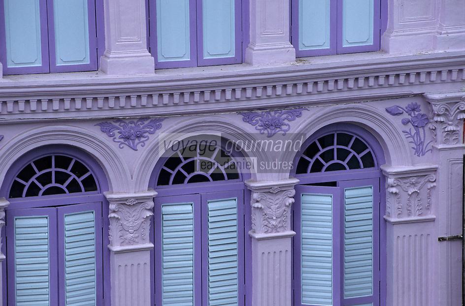 Asie/Singapour/Singapour: Tanjong Pagar - Détail des façades des shophouses