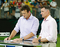 8th November 2019; Optus Stadium, Perth, Western Australia Australia; T20 Cricket, Australia versus Pakistan; Former Australian players Adam Gilchrist and Mike Hussey commentate for Fox Sports - Editorial Use
